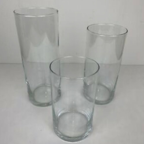 Glass Small, Medium and large cylinders