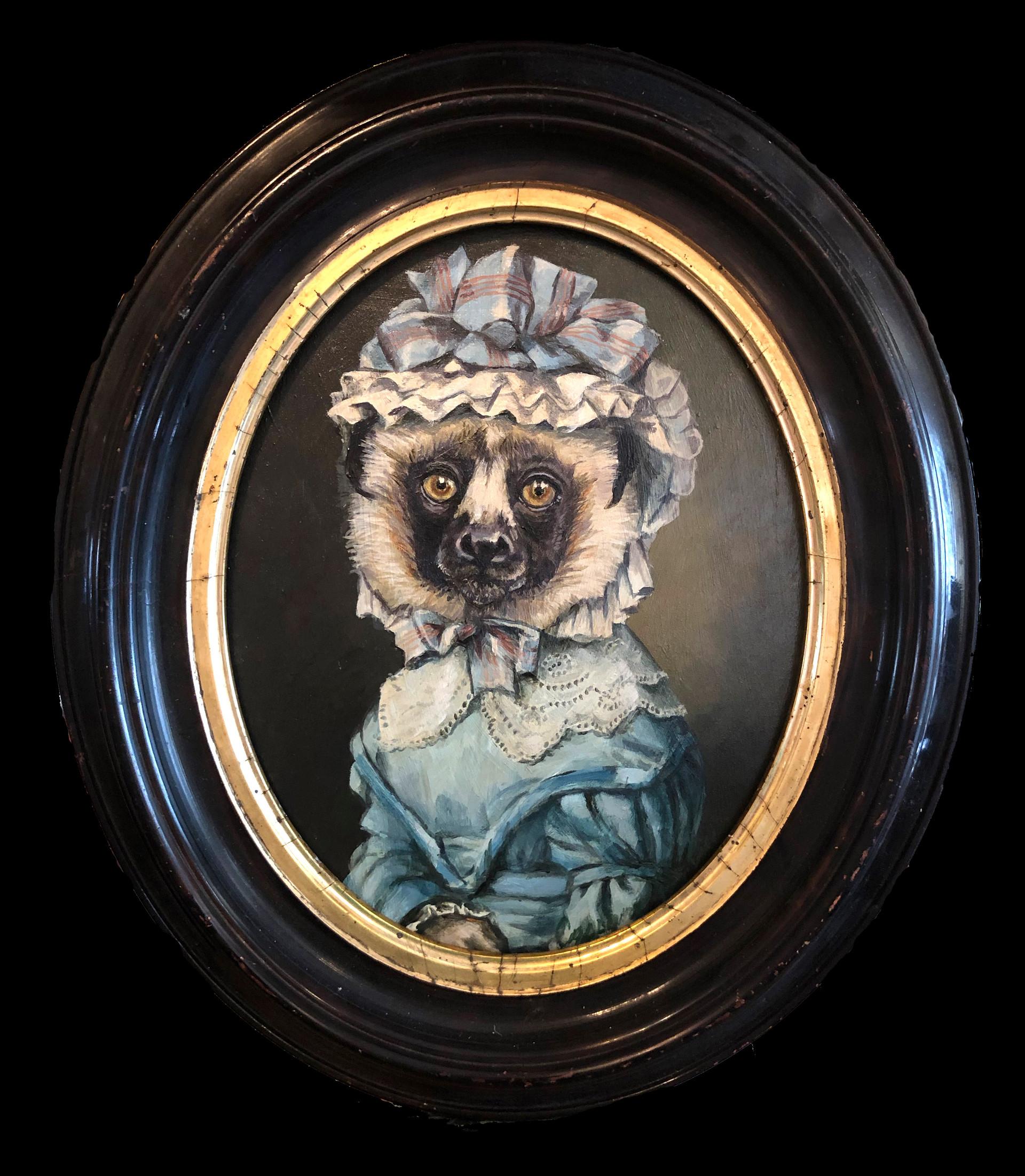 """Portrait of a Lemur in a Blue Dress"""
