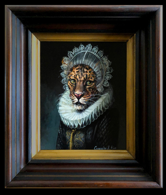 """Portrait of a Jaguar in a White Lace Ruff and Cap"""