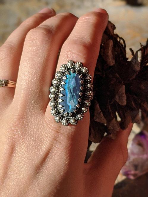 Sterling silver, Boulder Opal, floral border tri-shank ring, size 8.5 US