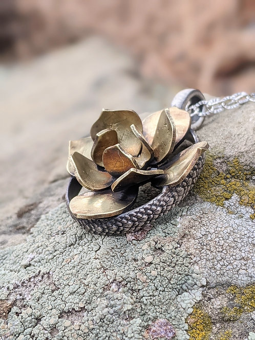 Sterling silver and brass succulent pendant