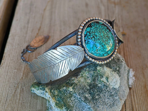 Sterling silver, Qingu Mine Turquoise, feather cuff bracelet