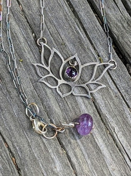 Sterling silver and Amethyst Lotus flower pendant