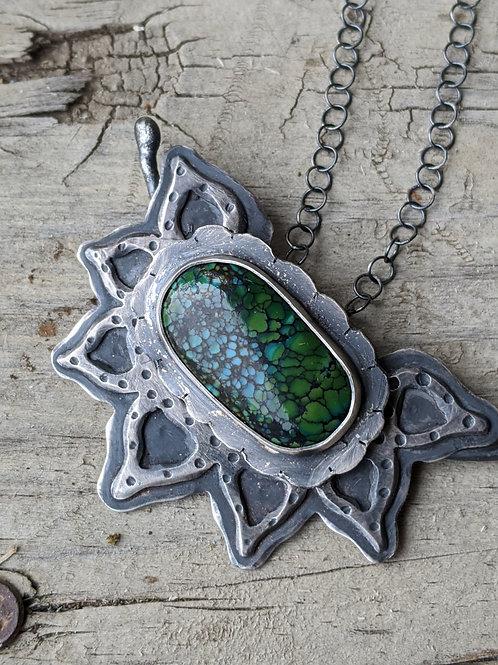 Sterling silver, Qingu Mine Turquoise, Lotus flower pendant