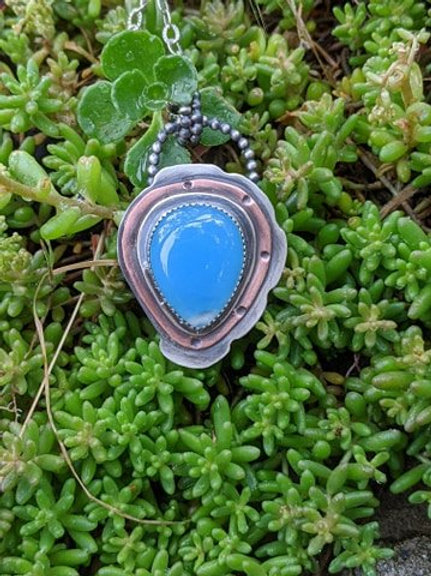 Sterling silver, copper layered, blue Chalcedony pendant