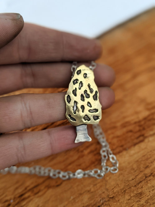Sterling silver and brass Morel mushroom pendant