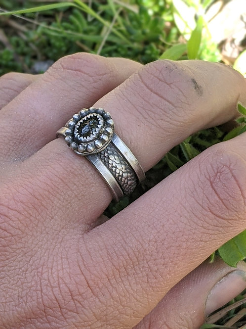 Sterling silver, snake skin ring with green Tourmaline, size 8.25