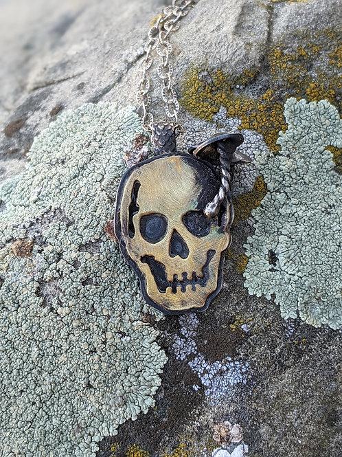 Sterling silver and brass skull mushroom pendant