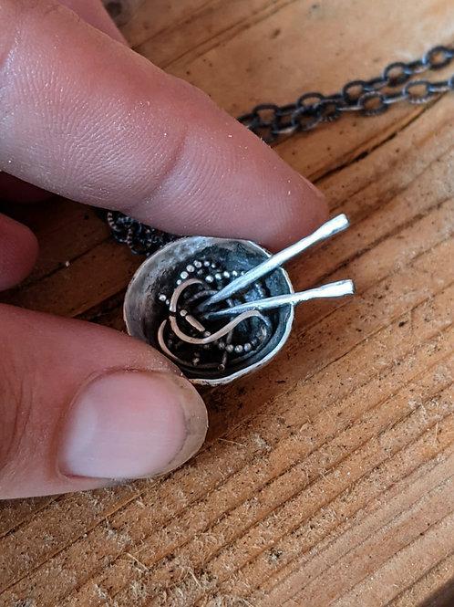 Sterling silver, miniature noodle bowl pendant