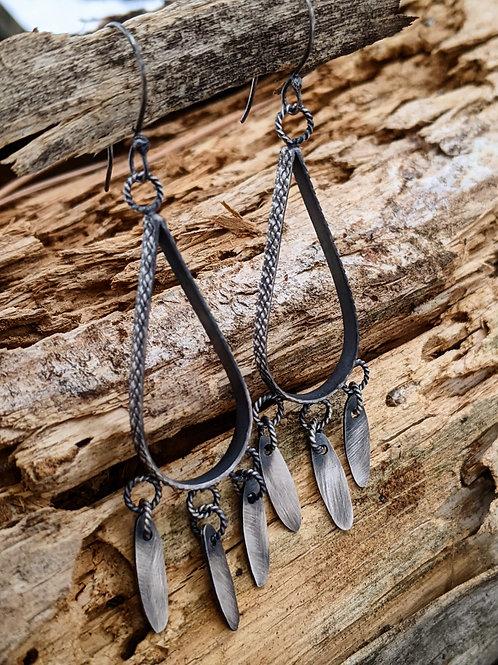 Sterling silver, snake skin, tear drop dangle earrings