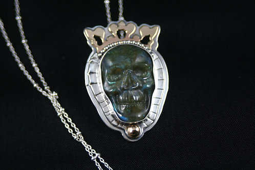 Sterling silver, 14k gold, Carved Labradorite skull queen of the damned pendant