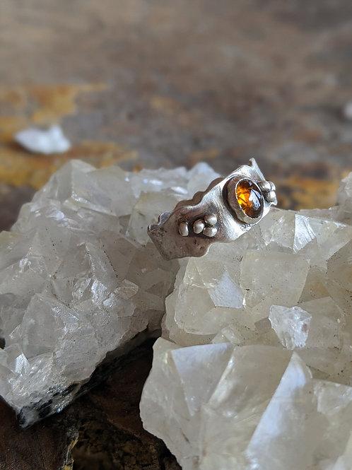 Sterling silver, orange Tourmaline, size 8.25 ring