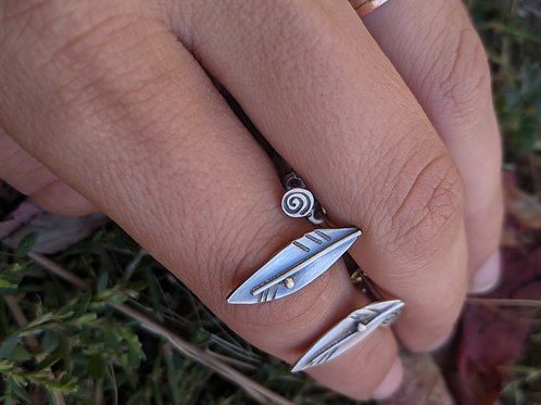 Sterling silver feather and spiral stud earring set