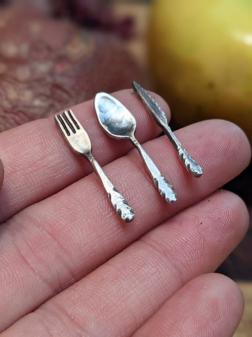 Sterling silver miniature silverware set, fork, knife and spoon set