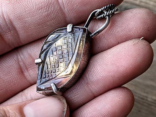 Sterling silver, carved Fluorite leaf pendant