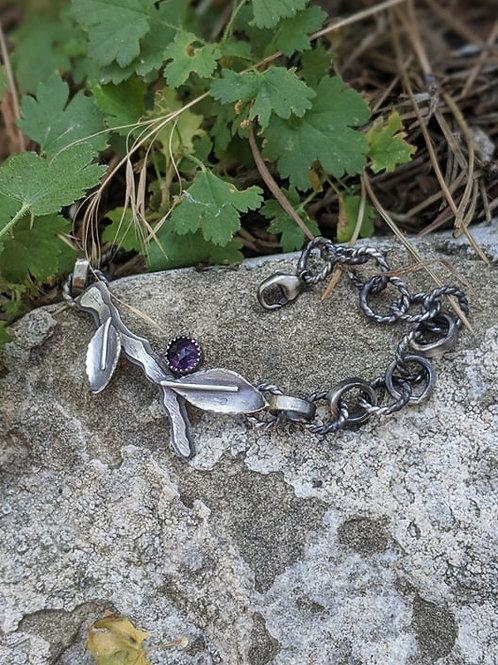 Sterling silver, Amethyst, Huckleberry link bracelet