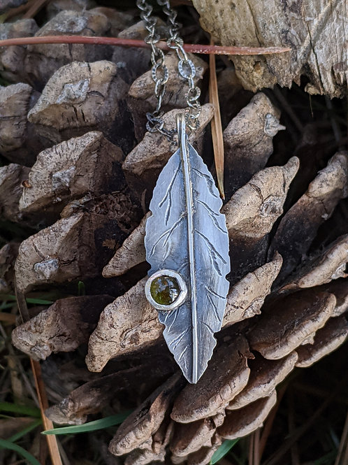 Sterling silver, green Tourmaline leaf pendant