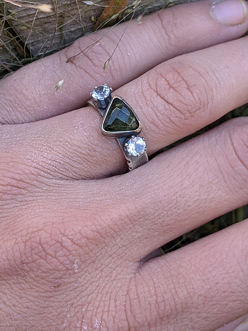 Sterling silver, rose cut Moldavite, Cz Topaz ring, size 6.5
