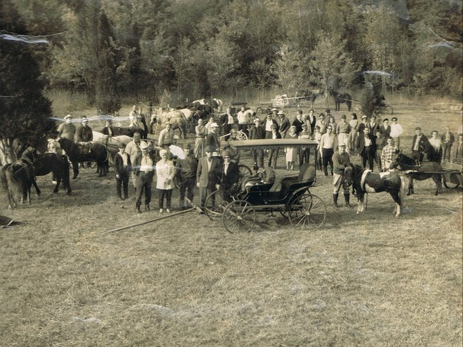 1967 gathering at club grounds in Tylersport. Today standing in the same spot, you would see the red equipment shed in the background to the left of picture.