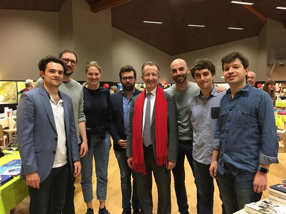 Part of the of the delegation of the German-French Young Leaders team with Christophe Barbier at Autun Book Fair