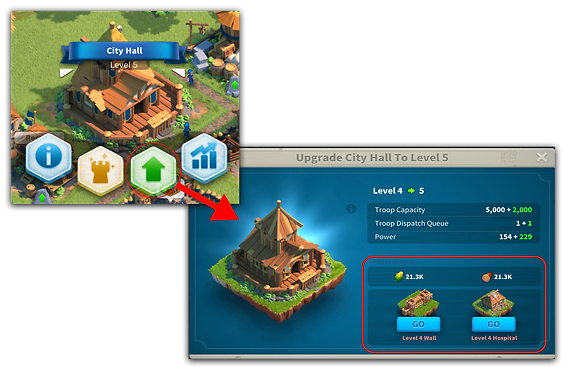 Upgrading in Rise of Kingdoms
