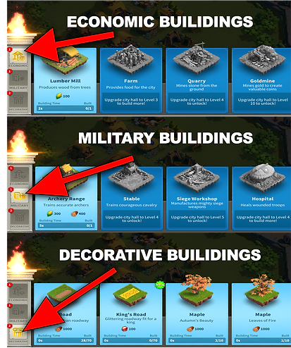 Building selections in Rise of Kingdoms