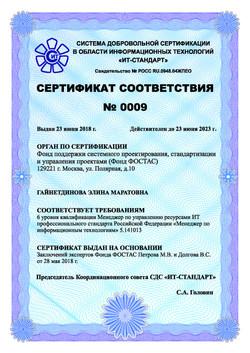 Сертификат Гайнетдинова