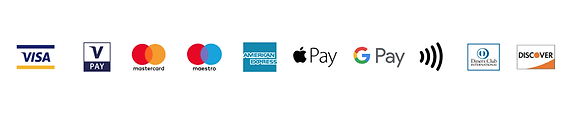 VISA, apple pay, google pay. All cards accepted.