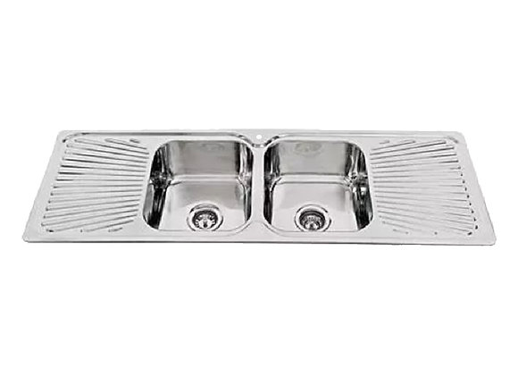 Mercer Hume Double Bowl & Double Fan Drainer - No Tap Hole