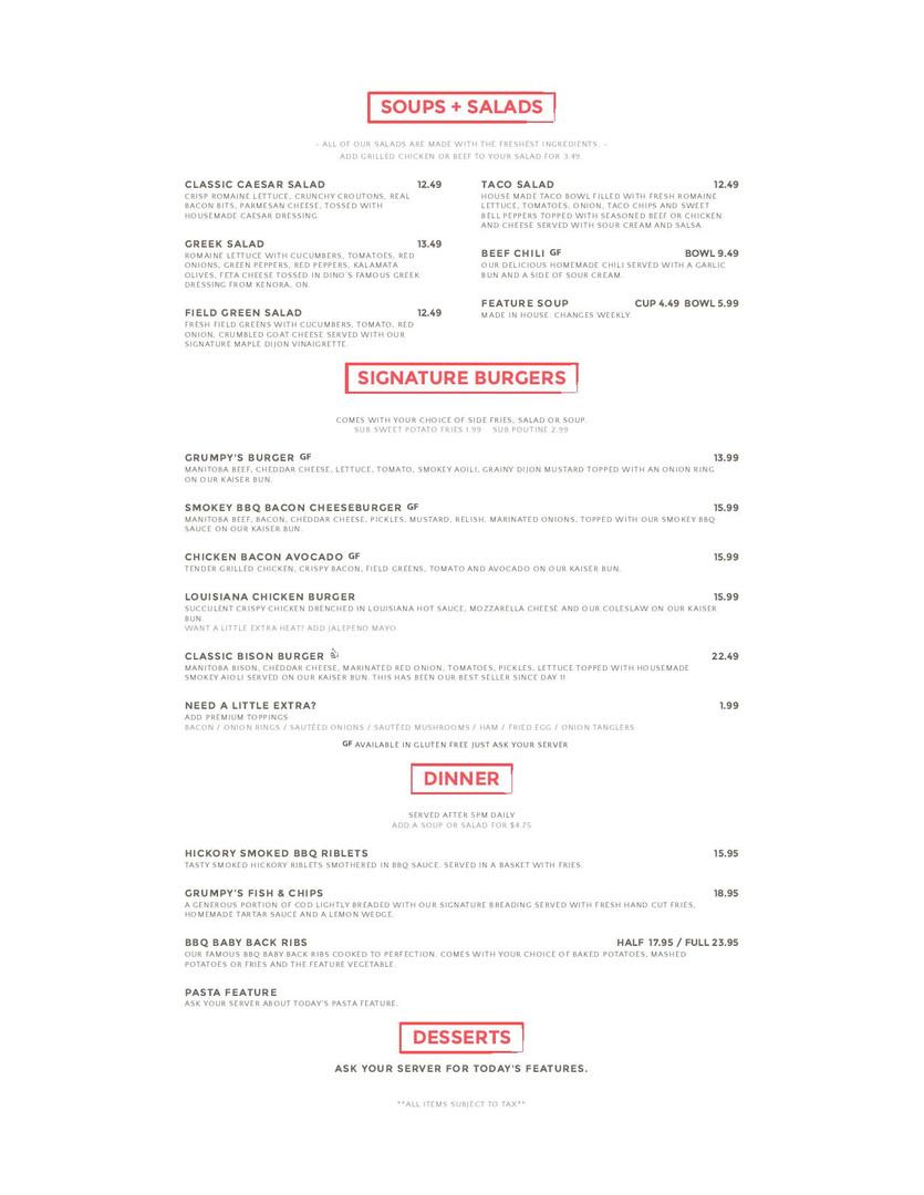 Altona Hotel Lunch & Dinner Menu
