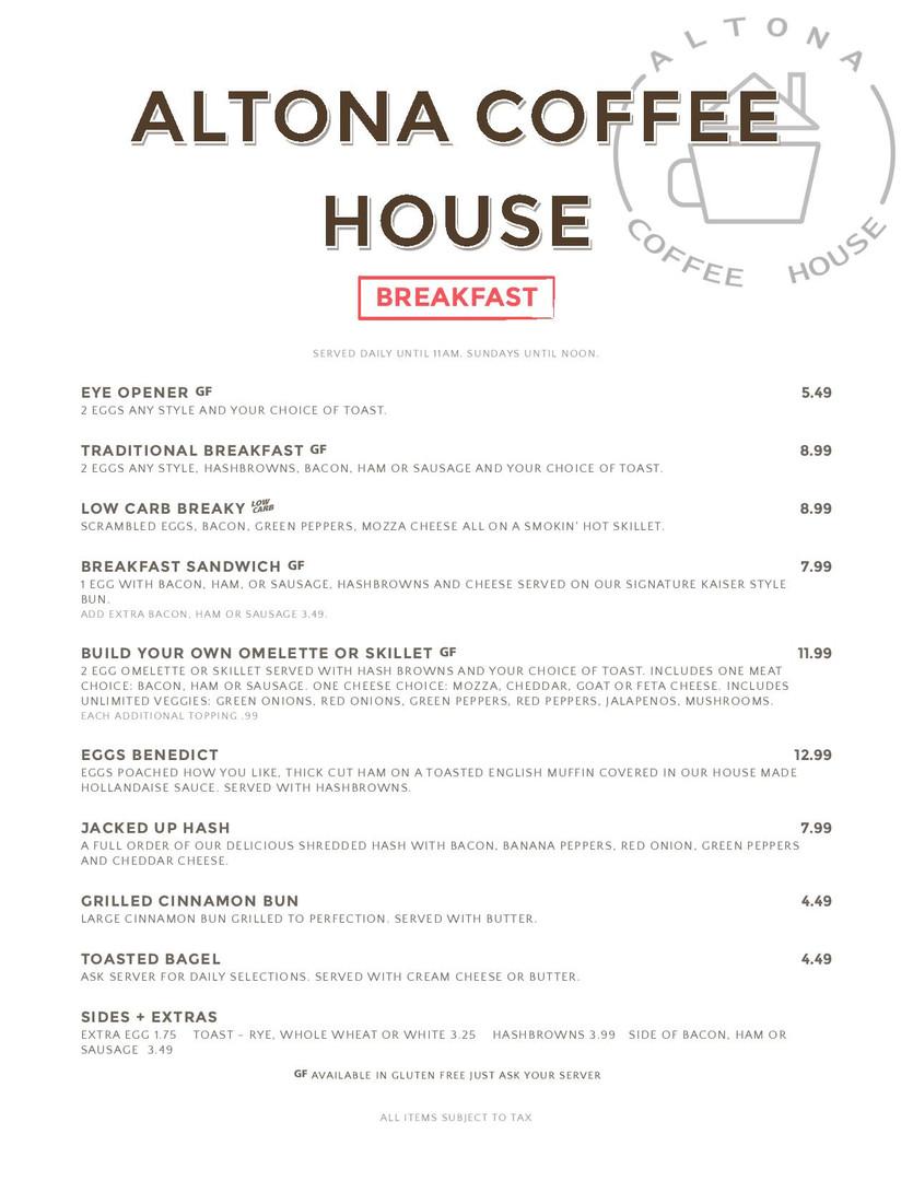 Altona Hotel Breakfast Menu