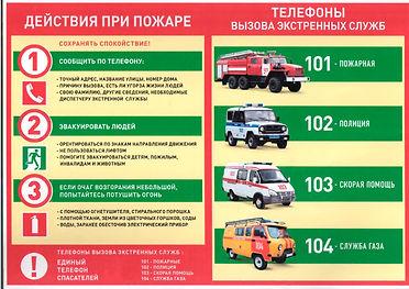 Действия при пожаре и телефоны служб