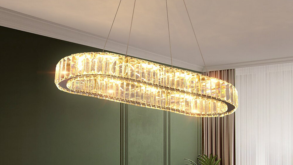 Crystal Chrome Chandelier Light Mirror
