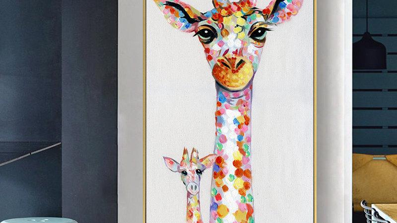 Giraffe Family Painting  for Living Room Home Decor No Frame