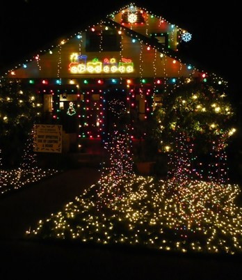 """Since I don't have a photo of Enzo's Walmart decorated house to show you, I used an """"award-winning"""" house from the neighborhood."""