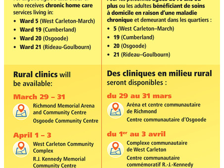 Rural pop-up vaccine clinics for Ontarians age 70 and up
