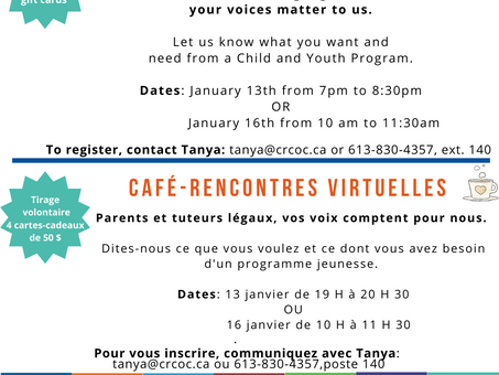 Parents Voices: Online Survey & Coffee Meets/Voix des parents : Sondage en ligne et café-rencontres
