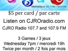 CJRO Radio Bingo - first game on October 13 /  De retour le 13 octobre!
