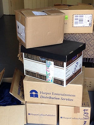 Boxed books for a conference at Phillip Island