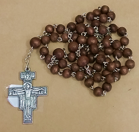 Brown Wood Rosary Beads