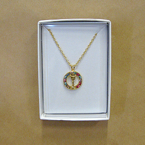 First Holy Communion Necklace - Sparkly Circle and Chalice