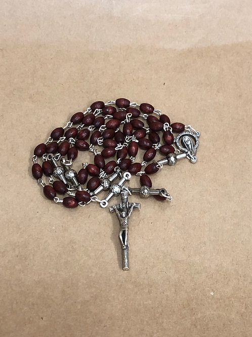 Brown wood rosary with corpus