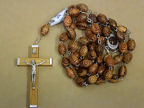 Rosary from Italy / Carved Beads / Wood Crucifix