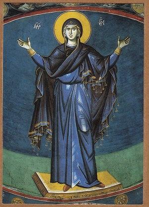 Mother of God, Praying Fresco 1295