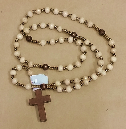 Cream Wood Rosary Beads