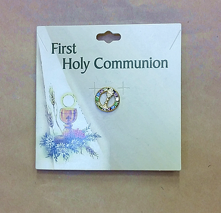 First Holy Communion Pin - Sparkly Circle and Chalice