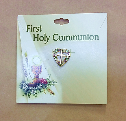 First Holy Communion Pin - Sparkly Heart and Cross