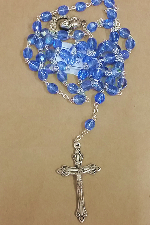 Blue Glass Rosary Beads