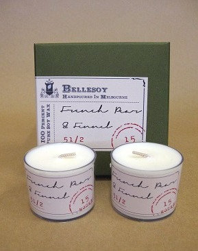 French pear + fennel candles Bellesoy