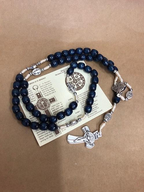 St Benedict Blue Wood Rosary
